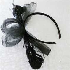 Pre-Loved Black Fascinator on Headband - PL679 - 10.00 AUD - Pre-Loved fascinator, black netting and feathers, attached to headband.  Good condition. - Easy Checkout options: Paypal  Most Credit Cards Bank Transfer - Within 7 Days (Australia)