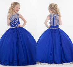Royal Blue Girls Pageant Dresses 2016 A Line Zipper Back Long Communion Gowns Crystal Sheer Neck Flower Girls Dress For Wedding Party Dress For Girls Pretty Dresses For Girls From Angelia0223, $129.11| Dhgate.Com