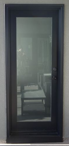 Fibreglass Door Blinds In The Glass With Transom Painted Commercial Brown