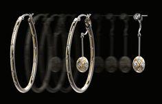 Zoltan David 'Dangeliers (TM)' Palladium Hoop Earrings with 22K Gold Inlay and detachable hanging elements