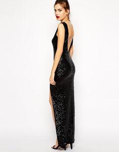 Black zig zag sequin maxi dress