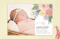 Soft Watercolor Floral Birth Announcements, minted, birth announcement, baby announcement, watercolor, watercolour, floral, flowers, baby, birth announcement ideas