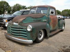 my dad's 53 chevy....same patina on it and everything...Dad's has stock wheels though!