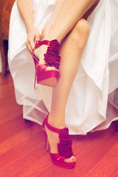 Something red for this bride! #weddingphotographersminnesota #WeddingShoes Photo by Ashley B.