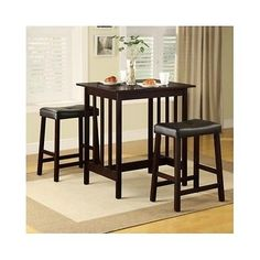 3 Piece Bistro Set Dining Kitchen Counter Height Furniture Table Bar Wood Pub