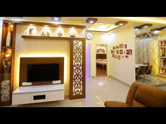 unit With Mandir Contemporary Modern Fusion House Ceiling Design, Ceiling Design Living Room, Room Door Design, Tv Wall Design, Modern Tv Cabinet, Tv Cabinet Design, Tv Unit Interior Design, Tv Unit Furniture Design, Interior Modern