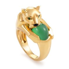 Cartier Panthere 18K Yellow Gold Onyx & Emerald Ring #Cartier