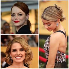 """""""So much #beauty inspiration to be found from last night's #SagAwards! We especially loved #EmmaStone's bold red lip and slick pony tail, #SarahHyland's…"""""""