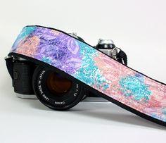 dSLR Camera Strap, Peach, Aqua, Lilac, Violet, Floral. $26.00, via Etsy.