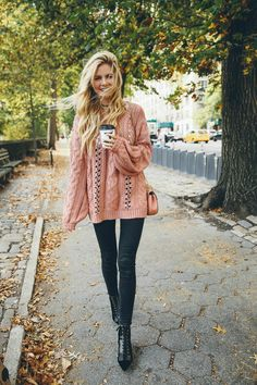 Barefoot Blonde in Fall in Central Park with Nordstrom: love and Lemons sweater , nordstroms, expensive, comes in cream too.