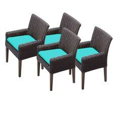 Miseno MPF-TKC099BDC2XC Mediterranean 4-Piece 35 Tall Aluminum Framed Outdoor Dining Arm Chair Set (