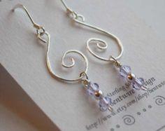 Lavender Beaded Earrings Bead Earrings Silver Wire Spirals