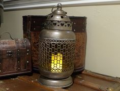 Vintage Style Metal Lantern with LED  Electric Candle Steampunk Electric Lamp Metal Candle Container by SteampunkGearWorks on Etsy https://www.etsy.com/listing/452843554/vintage-style-metal-lantern-with-led