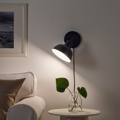 IKEA - SKURUP, Table/wall uplight, black, Table lamp or wall lamp – you can decide since the lamp can also be mounted on the wall. You can easily direct the light where you want it because the lamp head is adjustable. Gives a good general light. Ikea Wall Lights, Ikea Wall Lamp, Ikea Canada, Clear Light Bulbs, Lampe Decoration, Ikea Table, Paint Shades, Black Table Lamps, Led Lamp