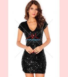 Sequin V-neck Mini Dress | Sexy Dresses, Sexy Clubwear, Ladies Clubwear, Mini Dresses | Party Dresses