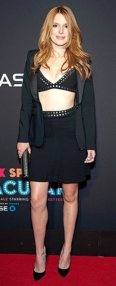 Smoking! The Disney actress showed off her hot bod in a black bralette top with a matching skirt and a tuxedo jacket.