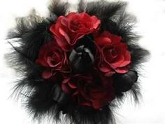 black with red bouquet