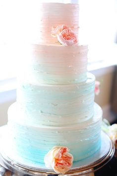 faintly ombre wedding cake...would like even more without the blue