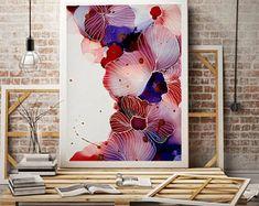 Rouge coquelicot, peinture coquelicot, peinture florale, fleur peinture, Art, Art abstrait, Art de l'alcool de l'encre, peinture, décoration murale à l'encre