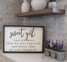 Sweet Girl You are More Than We Ever Expected | Kids Rooms | Kids Room Decor | Nursery Decor | Wood Signs Sayings | Farmhouse Framed Wood Sign | Family Sign | Wood Farmhouse Sign | Farmhouse Decor | Family Sign | Family Quotes | Family Pictures | Living Room Decor | Beautiful Rustic Bedroom Decor | Farmhouse Home | Farmhouse Decor | Bedroom Design Ideas | Bedroom Decor | Fixer Upper Style | Joanna Gaines | Farmhouse Style | Farmhouse Sign | Rustic Sign | Shiplap | Rustic Home Decor | Boho…