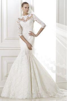 2015 Wonderful Wedding Dress 3/4 Length Sleeve Mermaid/Trumpet With Applique Tulle USD 299.99 EPP2X5PJLH - ElleProm.com