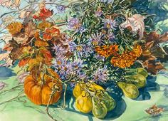 Asters, Tomatoes and Leaves watercolor by Janet Fish...love the interest created by the colors, textures and details