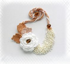 Hand Crochet Cotton Statement Necklace Rose by CraftsbySigita on Etsy