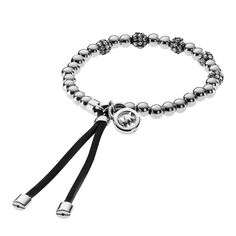 Michael Kors Brilliance Logo Silver Colour Stretch Crystal Set Bracelet From Berry's Jewellers