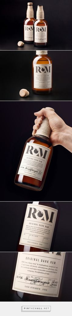 """RM Rum packaging by Alexey Malina Studio""""RM is a blend Coffee Packaging, Bottle Packaging, Bottle Labels, Design Poster, Label Design, Package Design, Graphic Design, Blog Design Inspiration, Packaging Design Inspiration"""