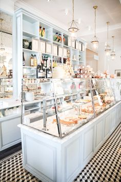 display cases inside sébastien gaudard patisserie, paris