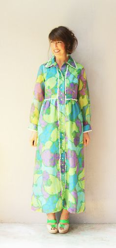 1960s sundress / vintage dress maxi sundress / by FiregypsyVintage, $65.72
