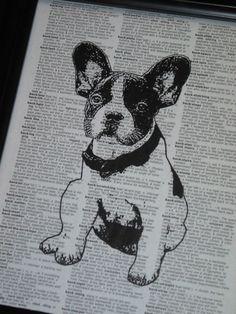 Printable French Graphics | DOG Art Print Dictionary Art Print French Bulldog Art Print Vintage ...