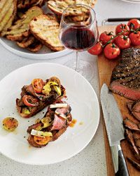 Food and Wine Magazine's Balsamic-Marinated Flank Steak- I made this recipe with a few changes: Flat Iron Steak, used fresh rosemary, and skipped out on doing the blender. If you're only using the vinaigrette for a meat marinade, it soaked up the flavors nicely with out all the extra dishes to wash :-)