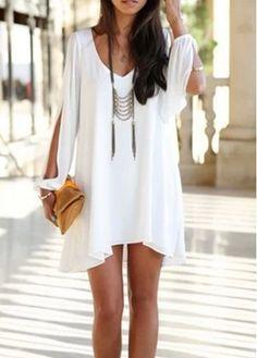 Charming V Neck Long Sleeve White Straight Dress | modlily.com