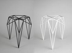 STOOL / 2013. A stool made of steel rods and powder coated. By Olga Szymańska in cooperation with Joanna Zaboklicka and Maria Rzeczycka.