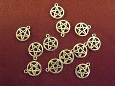 Pentagram Pendants silver lot of 12 by AGothShop on Etsy, $2.00