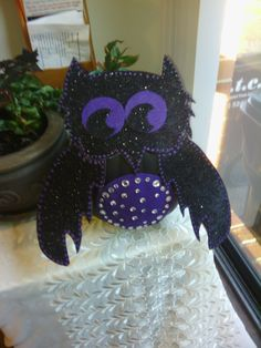 I saw an owl pumpkin at Michaels and decided to give it my own touch :) Owl Pumpkin, Minnie Mouse, Wreaths, Touch, Halloween, Disney Characters, Decor, Art, Art Background