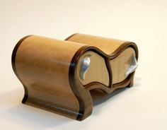 Curvy Two Drawer Maple and Walnut Box by mywoodwould on Etsy, $70.00