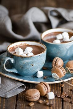 Hot chocolate, marshmallows and macaroons