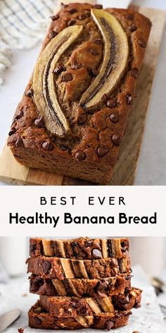 Super moist healthy banana bread made with greek yogurt and naturally sweetened with pure maple syrup. This is the best healthy banana bread recipe ever! Healthy Dessert Recipes, Healthy Baking, Baking Recipes, Healthy Snacks, Snack Recipes, Recipes With Bananas Healthy, Easy Desserts, Healthy Easy Food, Diabetic Recipes