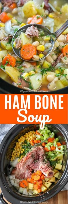 easy ham bone soup recipe is one of our favorites. It combines leftover Christmas ham with delicious veggies to give you the perfect slow cooker soup! Ham And Beans, Ham And Bean Soup, Ham Bone Recipes, Crockpot Recipes, Oven Recipes, Vegetable Soup Recipes, Veggie Soup, Sopa Crock Pot, Ham Bone Soup