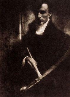 "Self-Portrait with Brush and Palette,1902 Gum bichromate print26.7 x 20cmInscribed recto, lower left, in graphite: ""Steichen / MXIIIVII;"" unmarked verso Edward SteichenAmerican, born Luxembourg, 1879–1973"