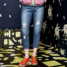hollow style jeans pants