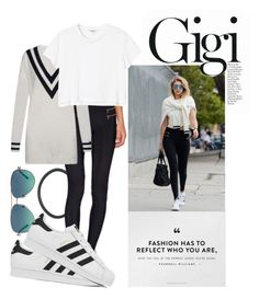 """""""Get the look: Gigi Hadid"""" by hiiamcaitlin ❤ liked on Polyvore featuring Blue Life, adidas, Tommy Hilfiger, Tiffany & Co. and Monki"""