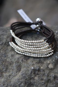 silvery beaded bracelet . Swedish Bohemian Society . via Lilla Villa Vita