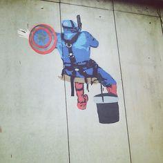 """Another progress shot of the captain. #stencil #stencilgraffiti #graffiti #spraypaint #WIP #art #avengers #theartist #captainamerica #captain #america #marvel #whatwedo #hoozinc"" Photo taken by @hoozinc on Instagram, pinned via the InstaPin iOS App! http://www.instapinapp.com (10/09/2015)"