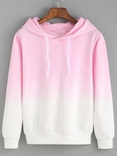 Hooded Pink Ombre Loose Sweatshirt Mobile Site