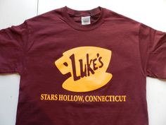 Gilmore Girls Luke's Diner T Shirt Tee Maroon Screen Print Stars Hollow Connecticut Lorelai Rory Lane Luke Emily Richard by AwesomeRagz on Etsy