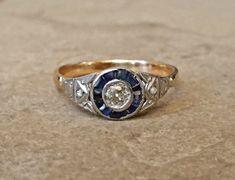 Rare Edwardian Sapphire Diamond and Platinum Halo Engagement Ring Vintage or Antique Art Deco Old European Cut Size 7.25