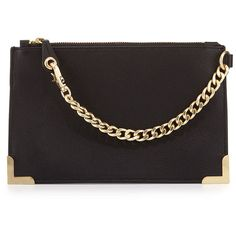 Foley + Corinna Framed Leather Wristlet (505 SAR) ❤ liked on Polyvore featuring bags, handbags, clutches, black, black leather handbags, wristlet clutches, black purse, leather wristlet purse and leather handbags